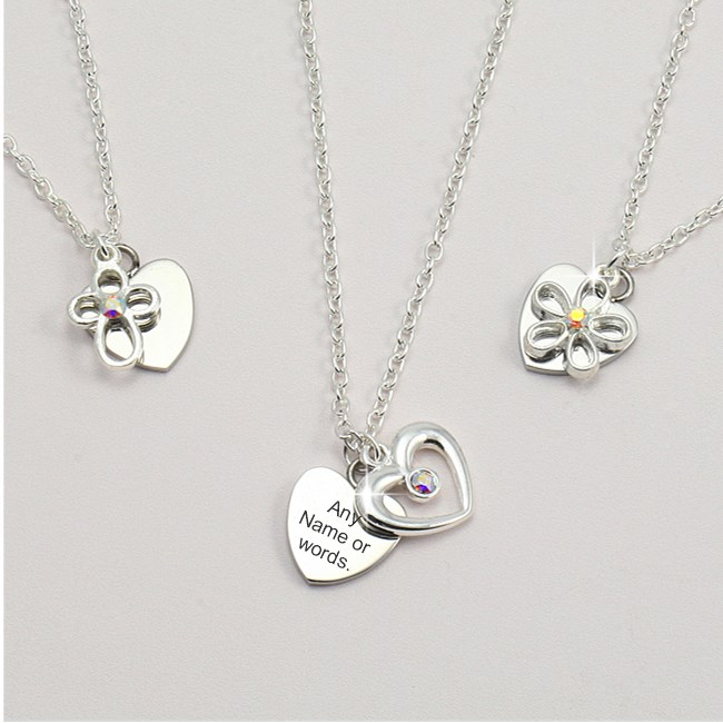 asp personalised names white gold heart triple necklace plated pendant p